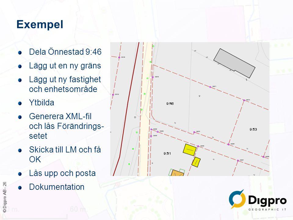 © Digpro AB - 26 Exempel Dela Önnestad 9:46 Lägg ut en ny gräns Lägg ut ny fastighet och enhetsområde Ytbilda Generera XML-fil och lås Förändrings- se