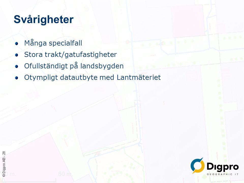 © Digpro AB - 28 Svårigheter Många specialfall Stora trakt/gatufastigheter Ofullständigt på landsbygden Otympligt datautbyte med Lantmäteriet