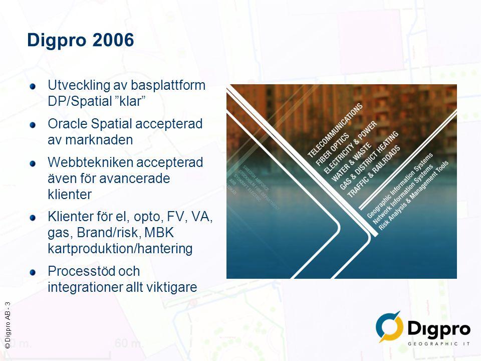 """© Digpro AB - 3 Utveckling av basplattform DP/Spatial """"klar"""" Oracle Spatial accepterad av marknaden Webbtekniken accepterad även för avancerade klient"""