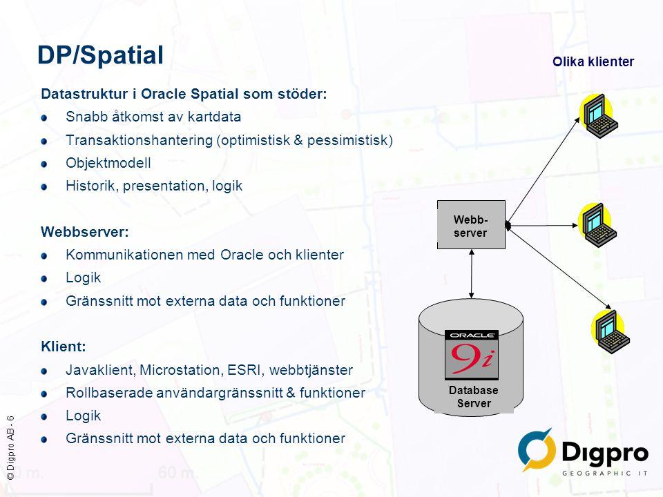 © Digpro AB - 7 Datamodell och standarder Grundläggande modell för lagring av geografiska data OGC, Open GIS Consortium, Simple Features Specifications Implementerad och utökad av Oracle i Oracle Spatial DP/Spatial objektmodell Generell databasmodell för att bygga upp objekt med olika typer av data och egenskaper, t ex geometrier, attribut, texter, kopplingar/länkar till andra objekt Branschspecifika modeller Standarder för vissa brancher, tex CIM för el Stockholms stad, SBK, register/baskarta Stokab, dokumentation av opto-nät OGC Standard, SFS Implementerad i Oracle Spatial Branschspecifika modeller implementerade med DP/Spatials objektmodell Oracle Spatial database