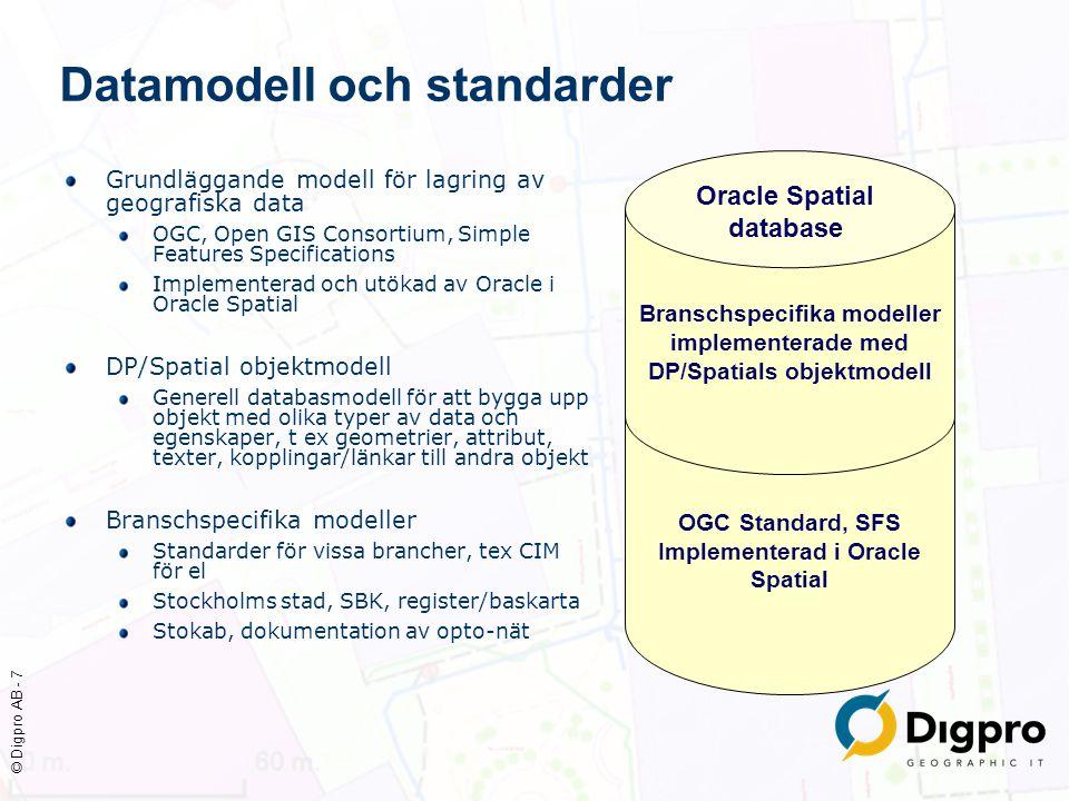 © Digpro AB - 8 Datamodell och standarder Grundläggande modell för lagring av geografiska data OGC, Open GIS Consortium, Simple Features Specifications Implementerad och utökad av Oracle i Oracle Spatial DP/Spatial objektmodell Generell databasmodell för att bygga upp objekt med olika typer av data och egenskaper, t ex geometrier, attribut, texter, kopplingar/länkar till andra objekt Branschspecifika modeller Standarder för vissa brancher, tex CIM för el Stockholms stad, SBK, register/baskarta Stokab, dokumentation av opto-nät