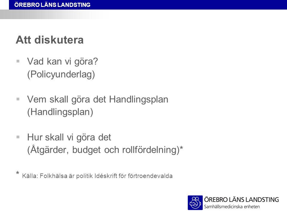 ÖREBRO LÄNS LANDSTING Att diskutera  Vad kan vi göra? (Policyunderlag)  Vem skall göra det Handlingsplan (Handlingsplan)  Hur skall vi göra det (Åt