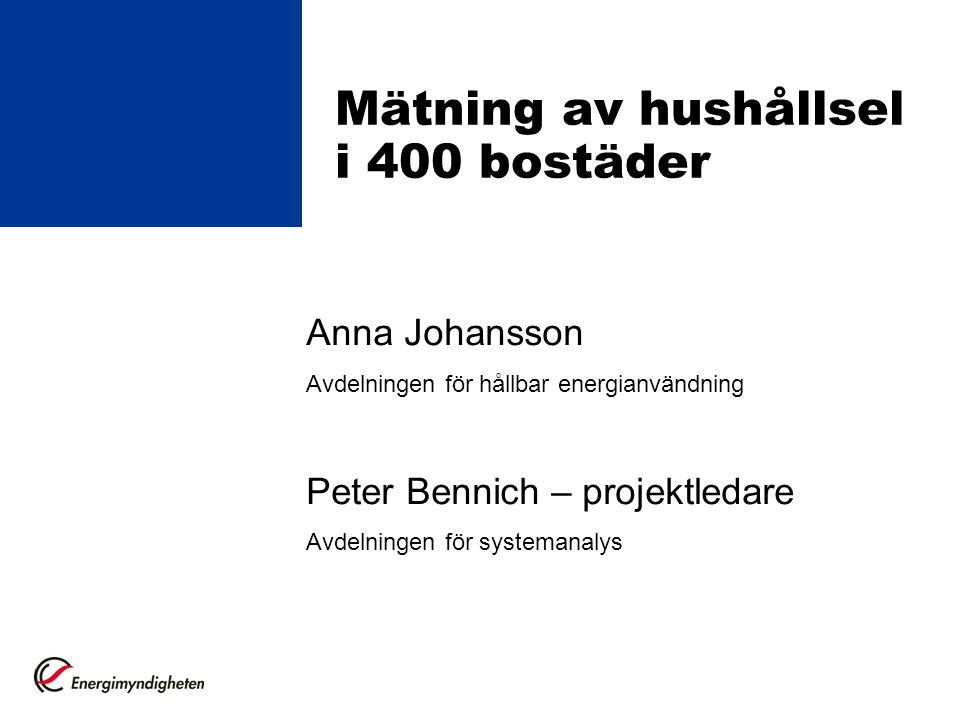 Mätning av hushållsel i 400 bostäder Anna Johansson Avdelningen för hållbar energianvändning Peter Bennich – projektledare Avdelningen för systemanalys