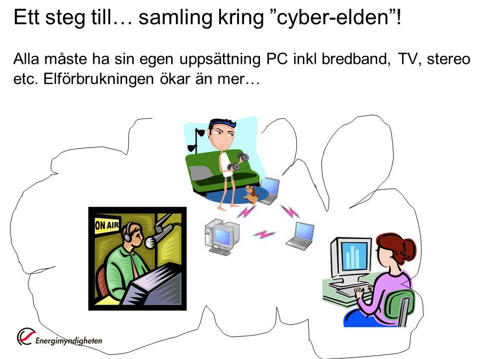 """Ett steg till… samling kring """"cyber-elden""""! Alla måste ha sin egen uppsättning PC inkl bredband, TV, stereo etc. Elförbrukningen ökar än mer…"""