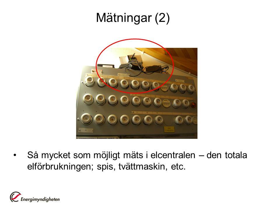 Mätningar (2) •Så mycket som möjligt mäts i elcentralen – den totala elförbrukningen; spis, tvättmaskin, etc.