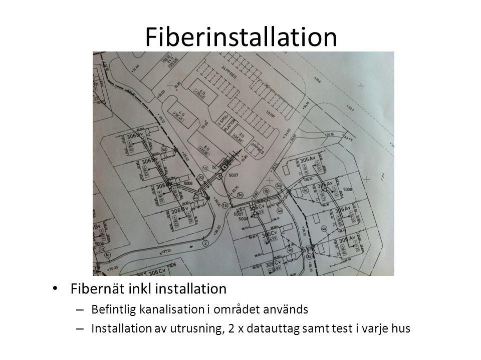 Fiberinstallation • Fibernät inkl installation – Befintlig kanalisation i området används – Installation av utrusning, 2 x datauttag samt test i varje hus