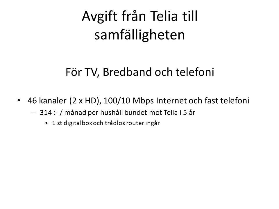 Avgift från Telia till samfälligheten För TV, Bredband och telefoni • 46 kanaler (2 x HD), 100/10 Mbps Internet och fast telefoni – 314 :- / månad per hushåll bundet mot Telia i 5 år • 1 st digitalbox och trådlös router ingår