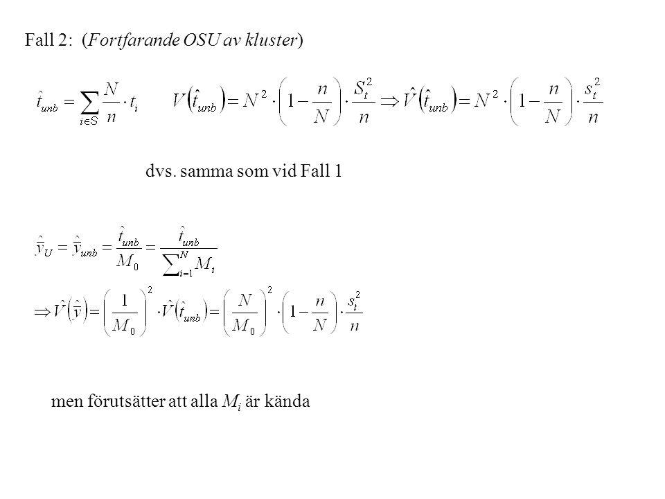 Fall 2: (Fortfarande OSU av kluster) men förutsätter att alla M i är kända dvs. samma som vid Fall 1