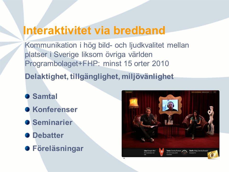 Interaktivitet via bredband Samtal Konferenser Seminarier Debatter Föreläsningar Kommunikation i hög bild- och ljudkvalitet mellan platser i Sverige liksom övriga världen Programbolaget+FHP: minst 15 orter 2010 Delaktighet, tillgänglighet, miljövänlighet