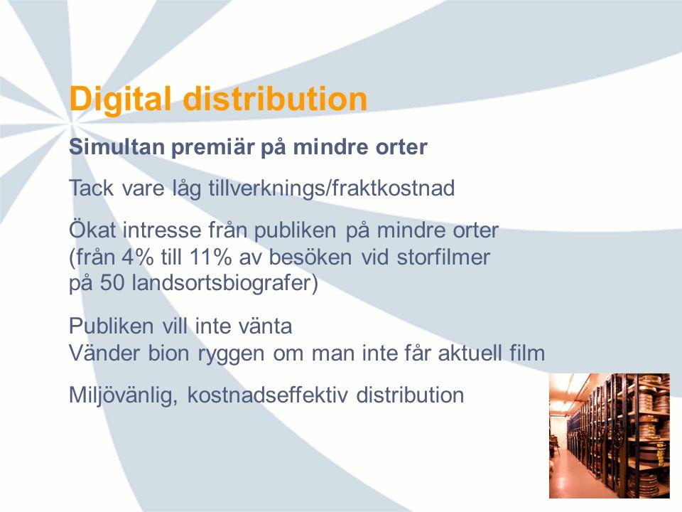 Från biograf till upplevelsehus Breddad filmrepertoar Koppla utrustning till andra digitala källor Direktsändning av evenemang via satellit Interaktiva möten och debatter Nytt utbud=ny publik (även för film) Ökad flexibilitet Modernisera mötesplatsen