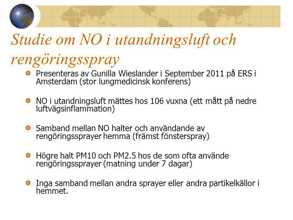 Studie om NO i utandningsluft och rengöringsspray Presenteras av Gunilla Wieslander i September 2011 på ERS i Amsterdam (stor lungmedicinsk konferens) NO i utandningsluft mättes hos 106 vuxna (ett mått på nedre luftvägsinflammation) Samband mellan NO halter och användande av rengöringssprayer hemma (främst fönsterspray) Högre halt PM10 och PM2.5 hos de som ofta använde rengöringssprayer (matning under 7 dagar) Inga samband mellan andra sprayer eller andra partikelkällor i hemmet.