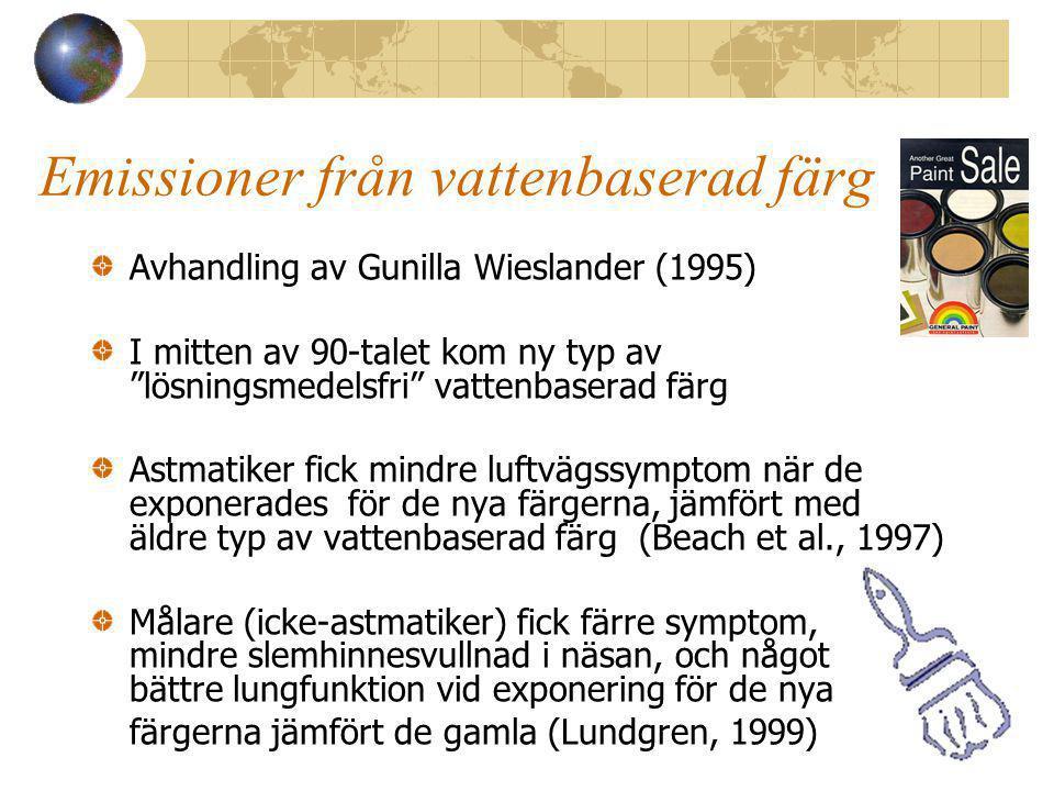 Emissioner från vattenbaserad färg Avhandling av Gunilla Wieslander (1995) I mitten av 90-talet kom ny typ av lösningsmedelsfri vattenbaserad färg Astmatiker fick mindre luftvägssymptom när de exponerades för de nya färgerna, jämfört med äldre typ av vattenbaserad färg (Beach et al., 1997) Målare (icke-astmatiker) fick färre symptom, mindre slemhinnesvullnad i näsan, och något bättre lungfunktion vid exponering för de nya färgerna jämfört de gamla (Lundgren, 1999)
