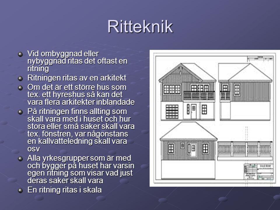 Ritteknik Vid ombyggnad eller nybyggnad ritas det oftast en ritning Ritningen ritas av en arkitekt Om det är ett större hus som tex. ett hyreshus så k