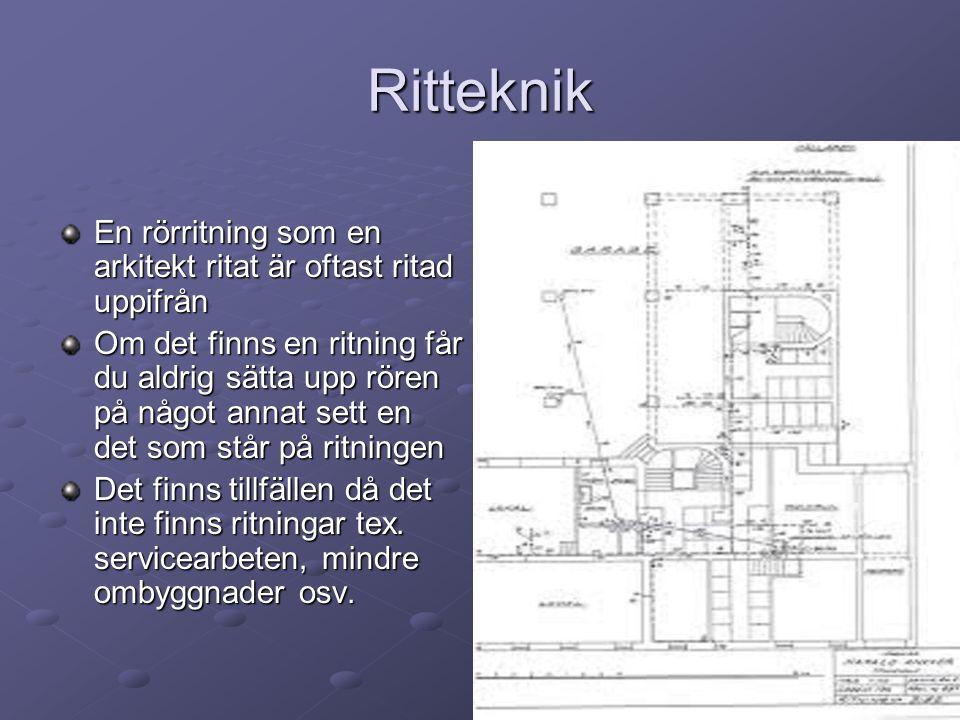 Ritteknik En rörritning som en arkitekt ritat är oftast ritad uppifrån Om det finns en ritning får du aldrig sätta upp rören på något annat sett en de