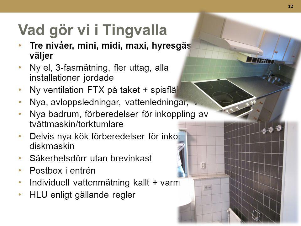 12 Vad gör vi i Tingvalla •Tre nivåer, mini, midi, maxi, hyresgäst väljer •Ny el, 3-fasmätning, fler uttag, alla installationer jordade •Ny ventilatio