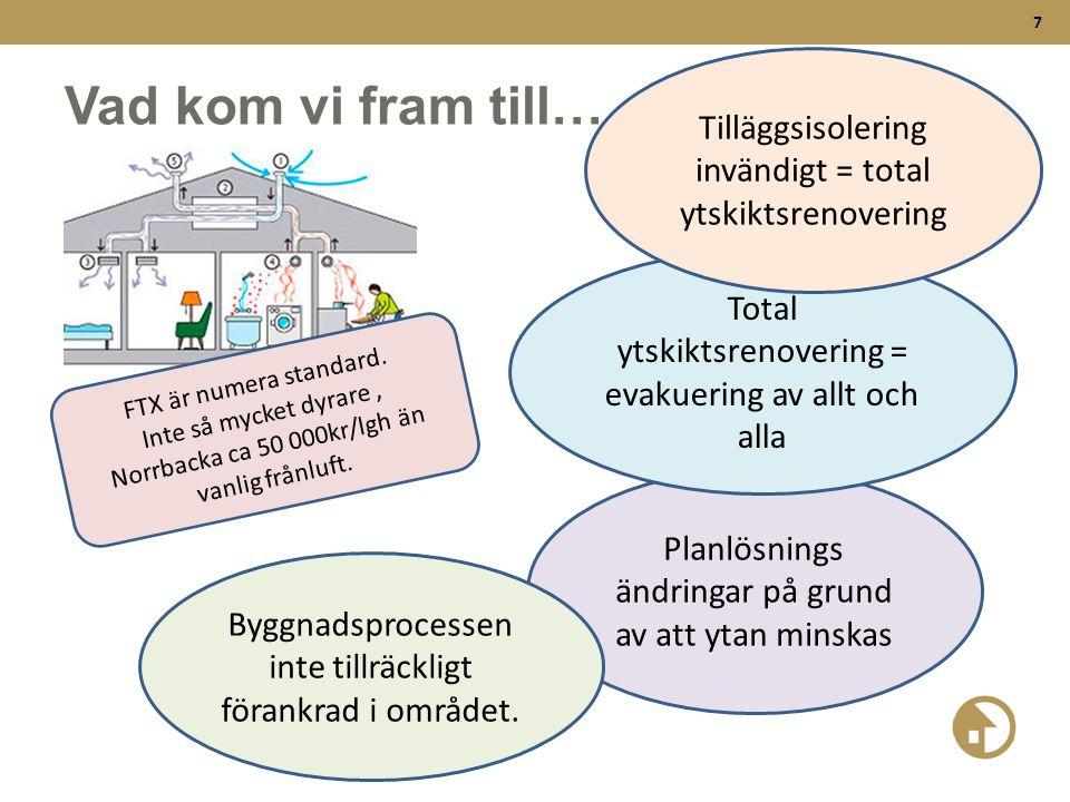 7 Vad kom vi fram till… FTX är numera standard. Inte så mycket dyrare, Norrbacka ca 50 000kr/lgh än vanlig frånluft. Planlösnings ändringar på grund a