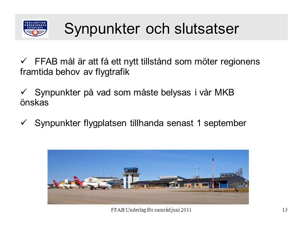 FFAB Underlag för samråd juni 201113 Synpunkter och slutsatser  FFAB mål är att få ett nytt tillstånd som möter regionens framtida behov av flygtrafik  Synpunkter på vad som måste belysas i vår MKB önskas  Synpunkter flygplatsen tillhanda senast 1 september
