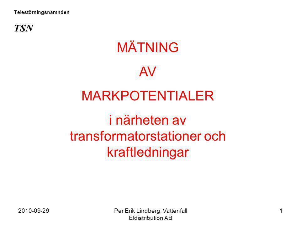 2010-09-29Per Erik Lindberg, Vattenfall Eldistribution AB 1 Telestörningsnämnden TSN MÄTNING AV MARKPOTENTIALER i närheten av transformatorstationer o