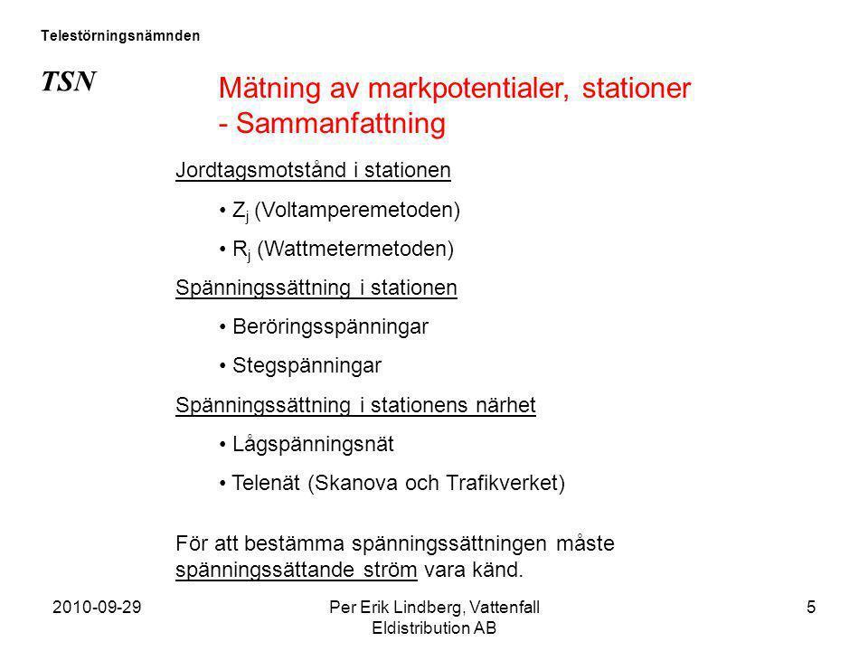 2010-09-29Per Erik Lindberg, Vattenfall Eldistribution AB 5 Telestörningsnämnden TSN Mätning av markpotentialer, stationer - Sammanfattning Jordtagsmo
