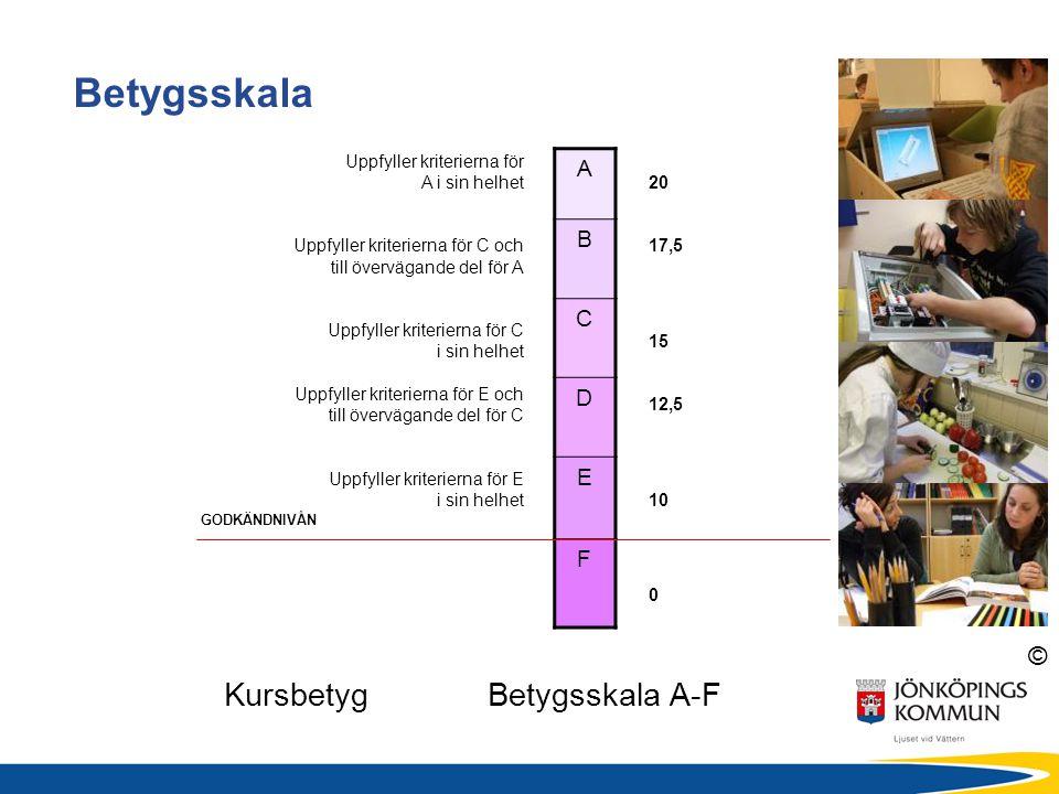 © Kursbetyg Betygsskala A-F Betygsskala 20 17,5 15 12,5 10 0 GODKÄNDNIVÅN A B C D E F Uppfyller kriterierna för A i sin helhet Uppfyller kriterierna f