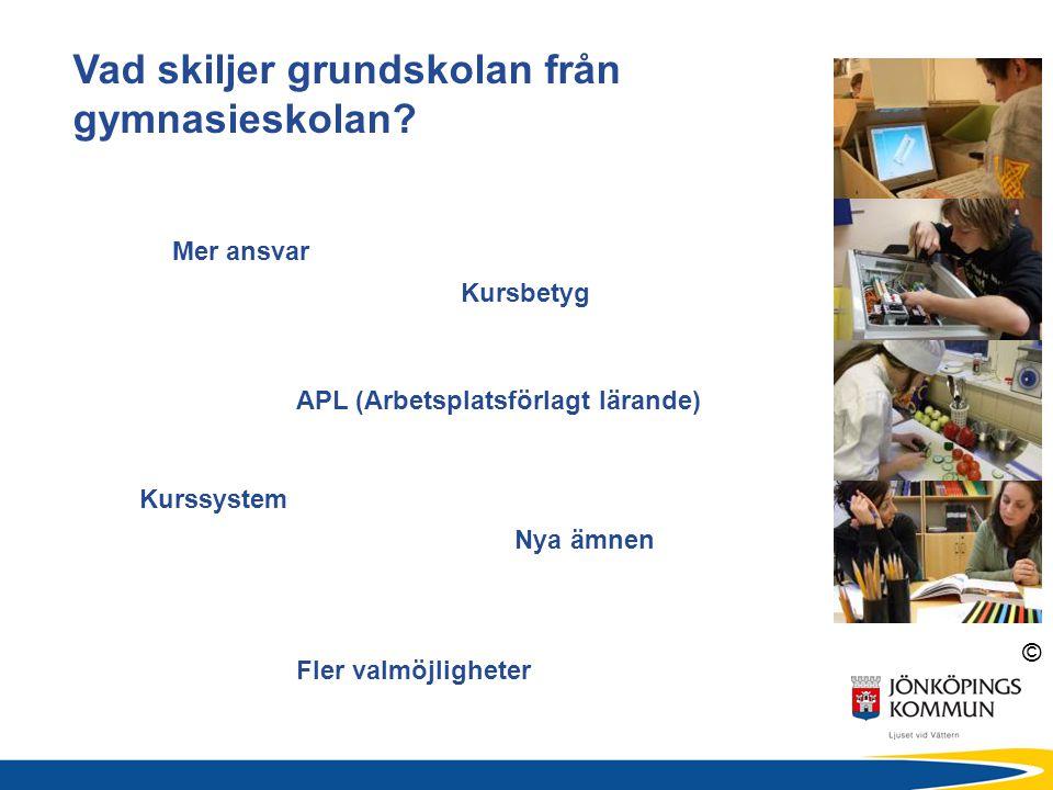 © Vad skiljer grundskolan från gymnasieskolan? Nya ämnen Fler valmöjligheter Kurssystem APL (Arbetsplatsförlagt lärande) Mer ansvar Kursbetyg