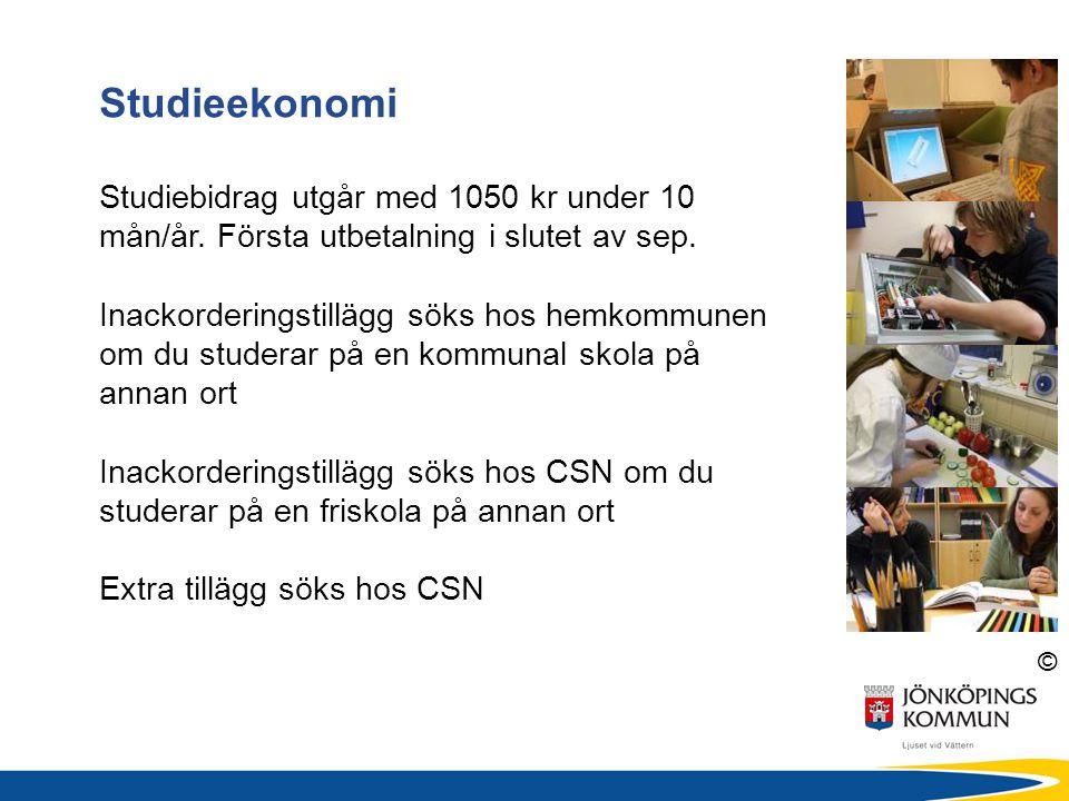 © Studieekonomi Studiebidrag utgår med 1050 kr under 10 mån/år. Första utbetalning i slutet av sep. Inackorderingstillägg söks hos hemkommunen om du s