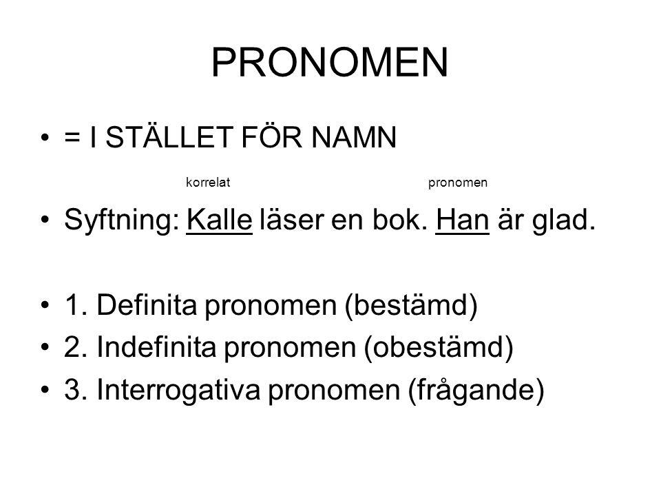 PRONOMEN •= I STÄLLET FÖR NAMN korrelatpronomen •Syftning: Kalle läser en bok. Han är glad. •1. Definita pronomen (bestämd) •2. Indefinita pronomen (o