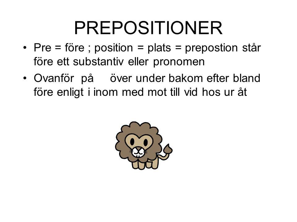 PREPOSITIONER •Pre = före ; position = plats = prepostion står före ett substantiv eller pronomen •Ovanför på över under bakom efter bland före enligt