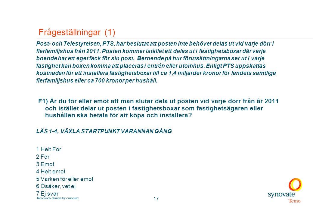 17 Frågeställningar (1) Post- och Telestyrelsen, PTS, har beslutat att posten inte behöver delas ut vid varje dörr i flerfamiljshus från 2011. Posten