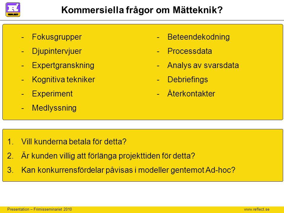 www.reflect.se Presentation – Frimisseminariet 2010 Kommersiella frågor om Mätteknik? -Fokusgrupper -Djupintervjuer -Expertgranskning -Kognitiva tekni
