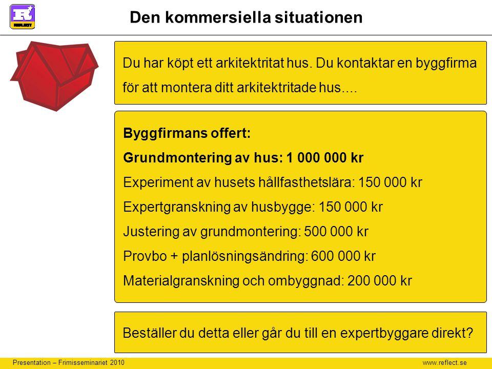 www.reflect.se Presentation – Frimisseminariet 2010 Den kommersiella situationen Du har köpt ett arkitektritat hus. Du kontaktar en byggfirma för att