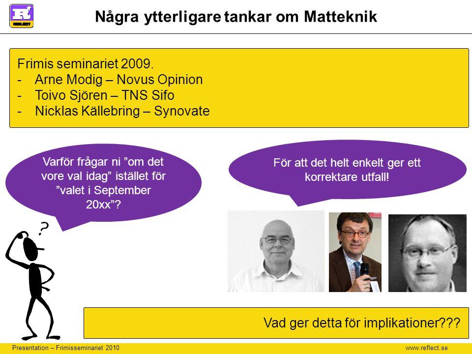 www.reflect.se Presentation – Frimisseminariet 2010 Några ytterligare tankar om Matteknik Frimis seminariet 2009. -Arne Modig – Novus Opinion -Toivo S