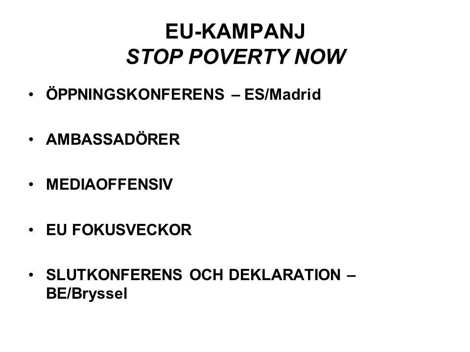 EU-KAMPANJ STOP POVERTY NOW •ÖPPNINGSKONFERENS – ES/Madrid •AMBASSADÖRER •MEDIAOFFENSIV •EU FOKUSVECKOR •SLUTKONFERENS OCH DEKLARATION – BE/Bryssel