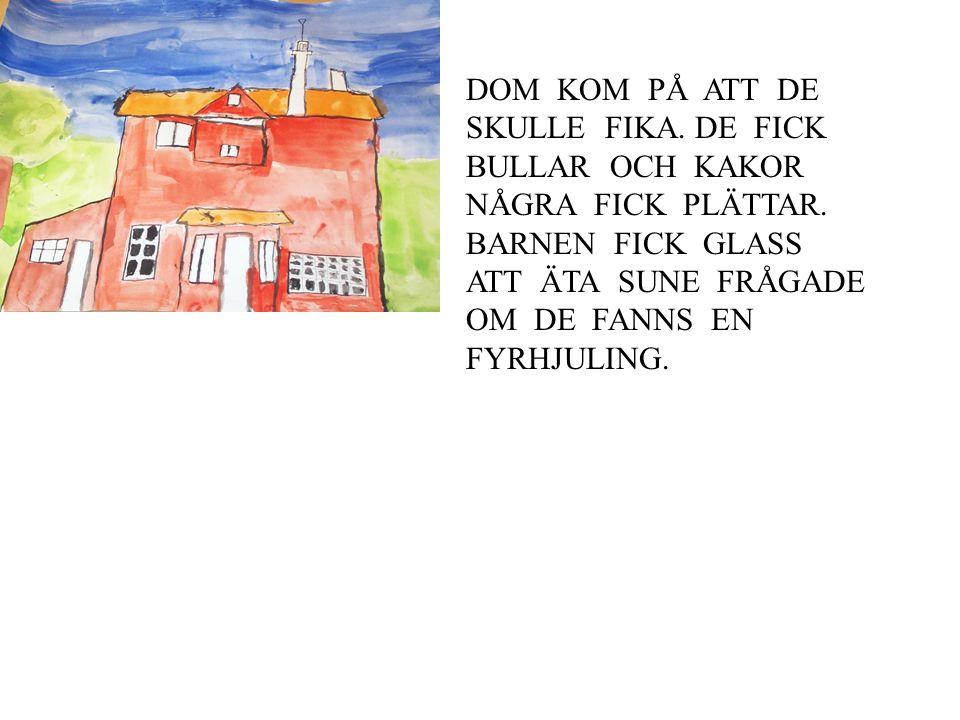 DOM KOM PÅ ATT DE SKULLE FIKA.DE FICK BULLAR OCH KAKOR NÅGRA FICK PLÄTTAR.