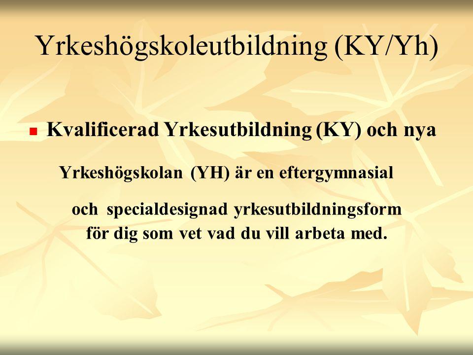 Yrkeshögskoleutbildning (KY/Yh)   Kvalificerad Yrkesutbildning (KY) och nya Yrkeshögskolan (YH) är en eftergymnasial och specialdesignad yrkesutbild