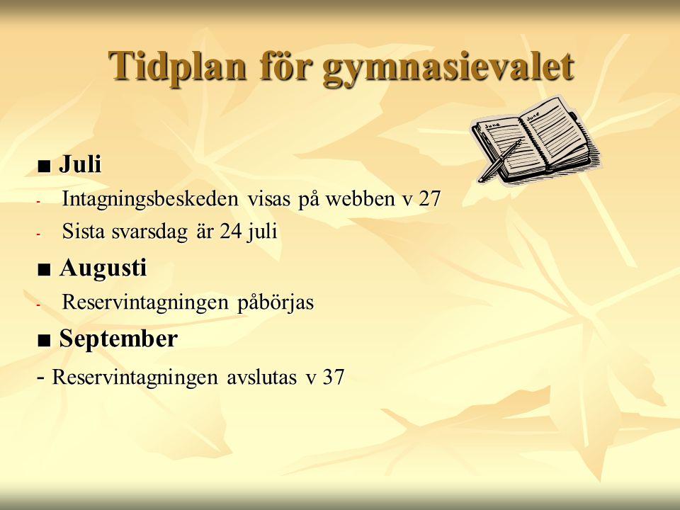 Tidplan för gymnasievalet ■ Juli - Intagningsbeskeden visas på webben v 27 - Sista svarsdag är 24 juli ■ Augusti - Reservintagningen påbörjas ■ Septem