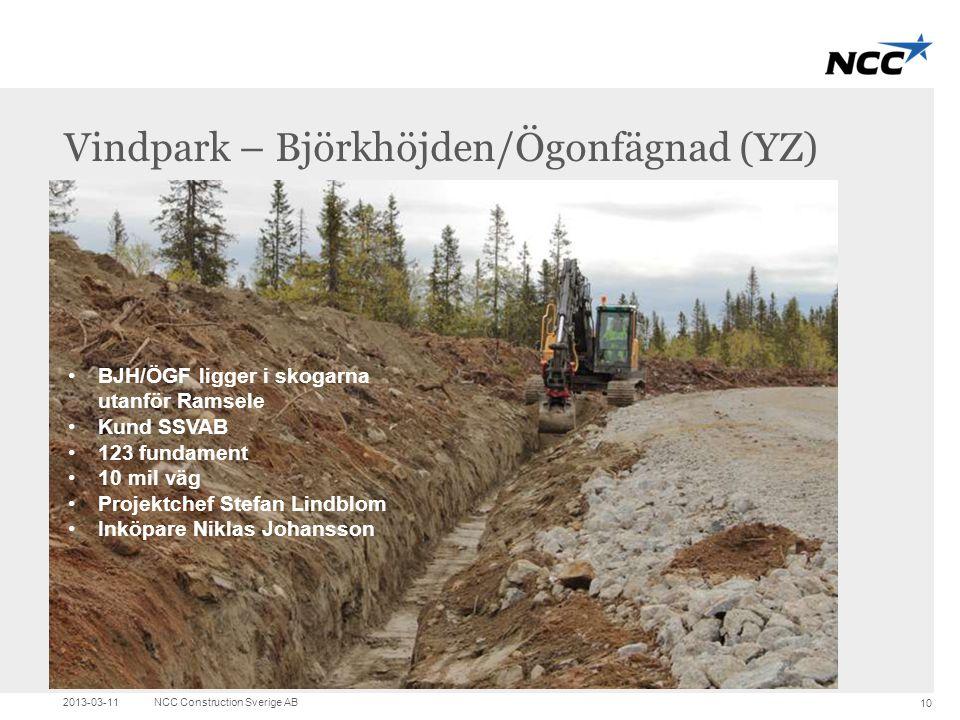 Title and content Vindpark – Björkhöjden/Ögonfägnad (YZ) 2013-03-11NCC Construction Sverige AB 10 •BJH/ÖGF ligger i skogarna utanför Ramsele •Kund SSV