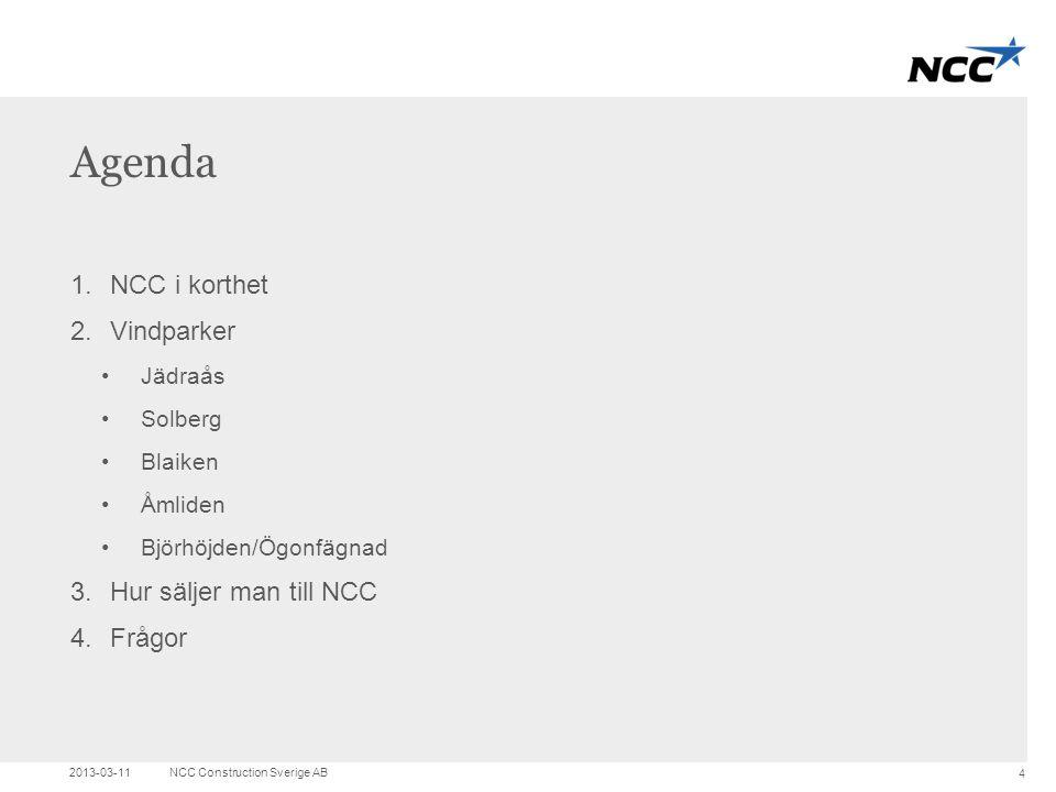 Title and content Agenda 1.NCC i korthet 2.Vindparker •Jädraås •Solberg •Blaiken •Åmliden •Björhöjden/Ögonfägnad 3.Hur säljer man till NCC 4.Frågor 20