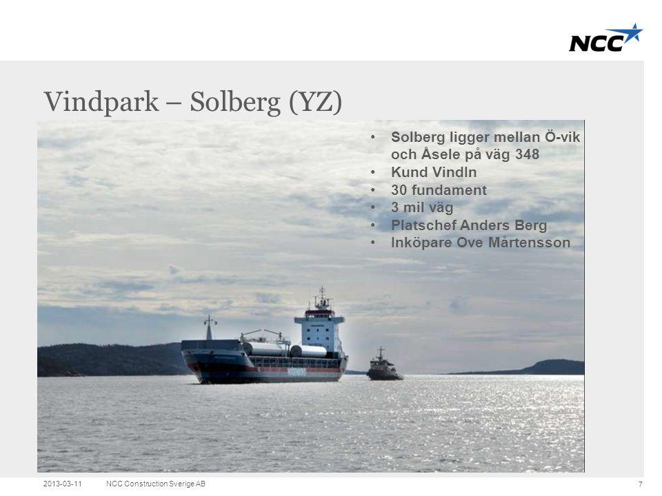 Title and content Vindpark – Solberg (YZ) 2013-03-11NCC Construction Sverige AB 7 •Solberg ligger mellan Ö-vik och Åsele på väg 348 •Kund VindIn •30 f
