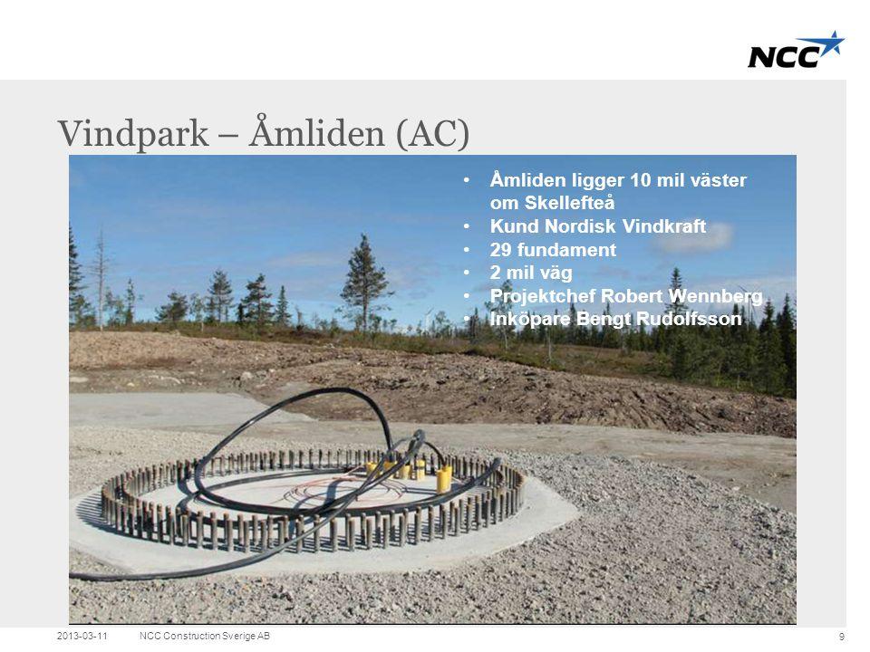 Title and content Vindpark – Åmliden (AC) 2013-03-11NCC Construction Sverige AB 9 •Åmliden ligger 10 mil väster om Skellefteå •Kund Nordisk Vindkraft