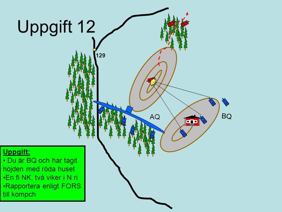 Uppgift 11 Din pluton har just varit i strid Rapportera resultatet till kompanichefen enligt FORS 129