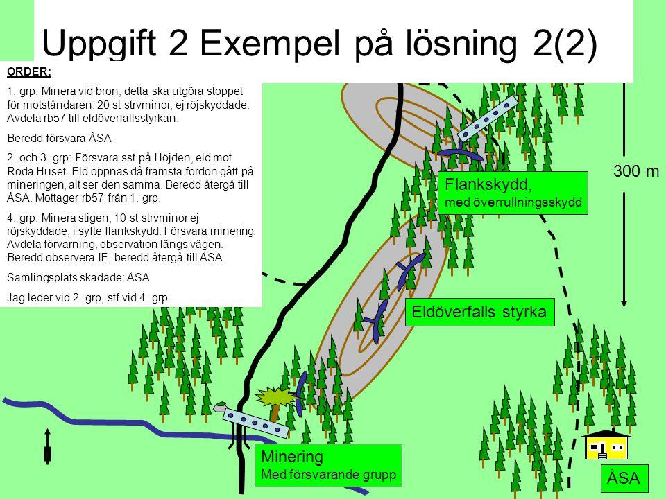 300 m ÅSA Flankskydd, med överrullningsskydd Förvarning Minering Med försvarande grupp Eldöverfalls styrka Uppgift 2 Exempel på lösning 1(2) BESLUT: Inledningsvis skall vi gruppera förvarning i syfte att få grepp om motståndaren.