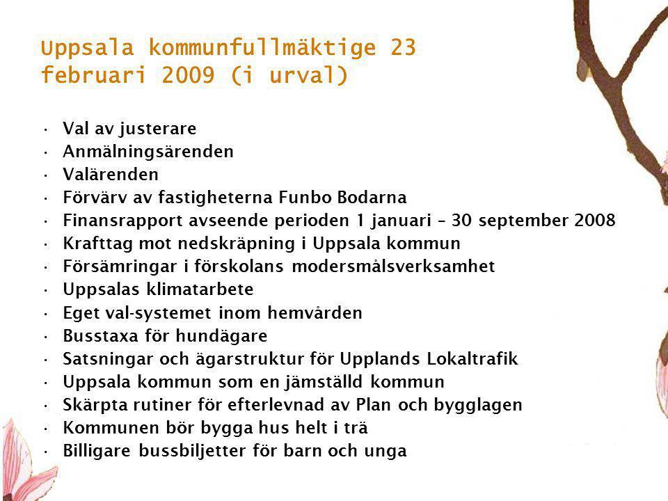 5 Uppsala kommunfullmäktige 23 februari 2009 (i urval) •Val av justerare •Anmälningsärenden •Valärenden •Förvärv av fastigheterna Funbo Bodarna •Finansrapport avseende perioden 1 januari – 30 september 2008 •Krafttag mot nedskräpning i Uppsala kommun •Försämringar i förskolans modersmålsverksamhet •Uppsalas klimatarbete •Eget val-systemet inom hemvården •Busstaxa för hundägare •Satsningar och ägarstruktur för Upplands Lokaltrafik •Uppsala kommun som en jämställd kommun •Skärpta rutiner för efterlevnad av Plan och bygglagen •Kommunen bör bygga hus helt i trä •Billigare bussbiljetter för barn och unga