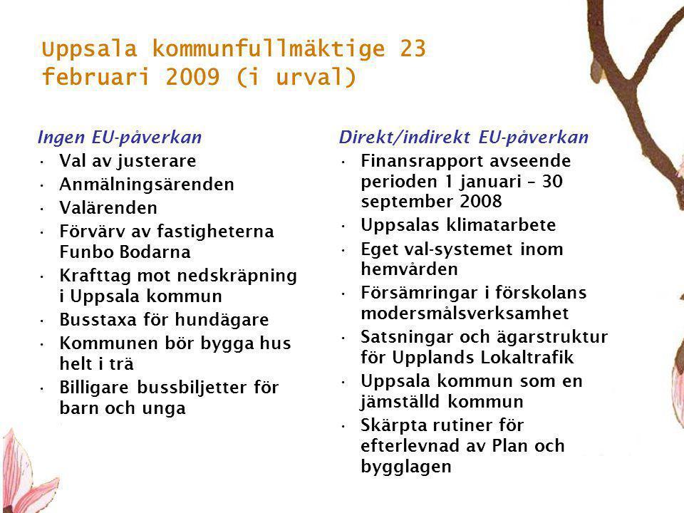 6 Uppsala kommunfullmäktige 23 februari 2009 (i urval) Ingen EU-påverkan •Val av justerare •Anmälningsärenden •Valärenden •Förvärv av fastigheterna Funbo Bodarna •Krafttag mot nedskräpning i Uppsala kommun •Busstaxa för hundägare •Kommunen bör bygga hus helt i trä •Billigare bussbiljetter för barn och unga Direkt/indirekt EU-påverkan •Finansrapport avseende perioden 1 januari – 30 september 2008 •Uppsalas klimatarbete •Eget val-systemet inom hemvården •Försämringar i förskolans modersmålsverksamhet •Satsningar och ägarstruktur för Upplands Lokaltrafik •Uppsala kommun som en jämställd kommun •Skärpta rutiner för efterlevnad av Plan och bygglagen