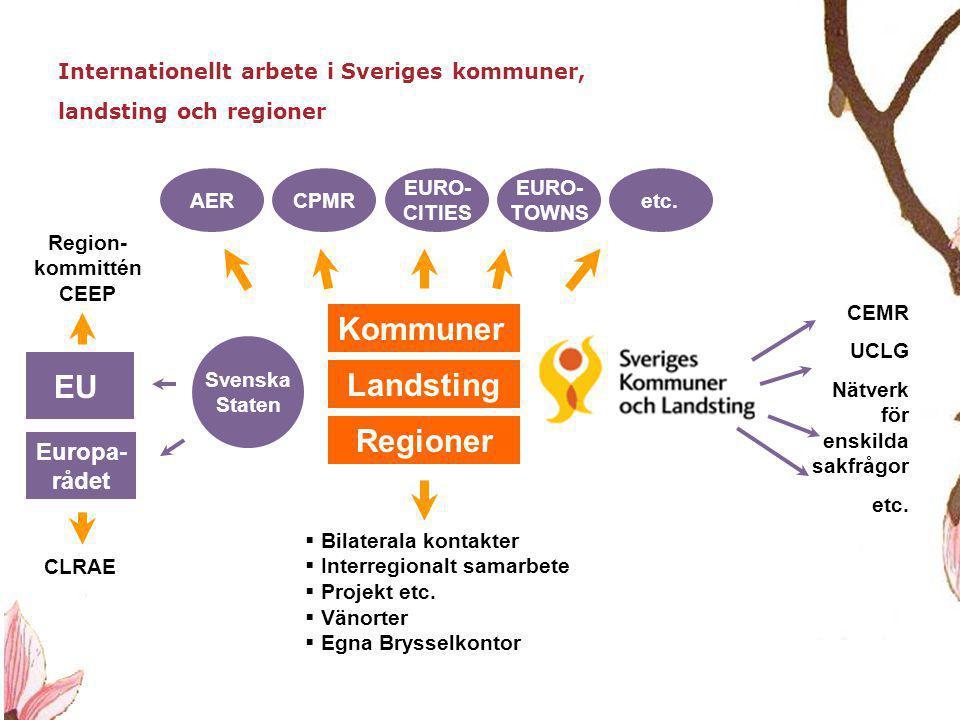 7 Internationellt arbete i Sveriges kommuner, landsting och regioner  Bilaterala kontakter  Interregionalt samarbete  Projekt etc.