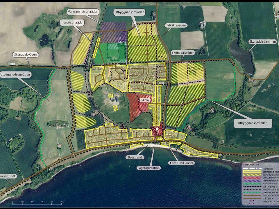 • Byggnationen reduceras.Norra området: Området bebyggs i enlighet med planförslaget.