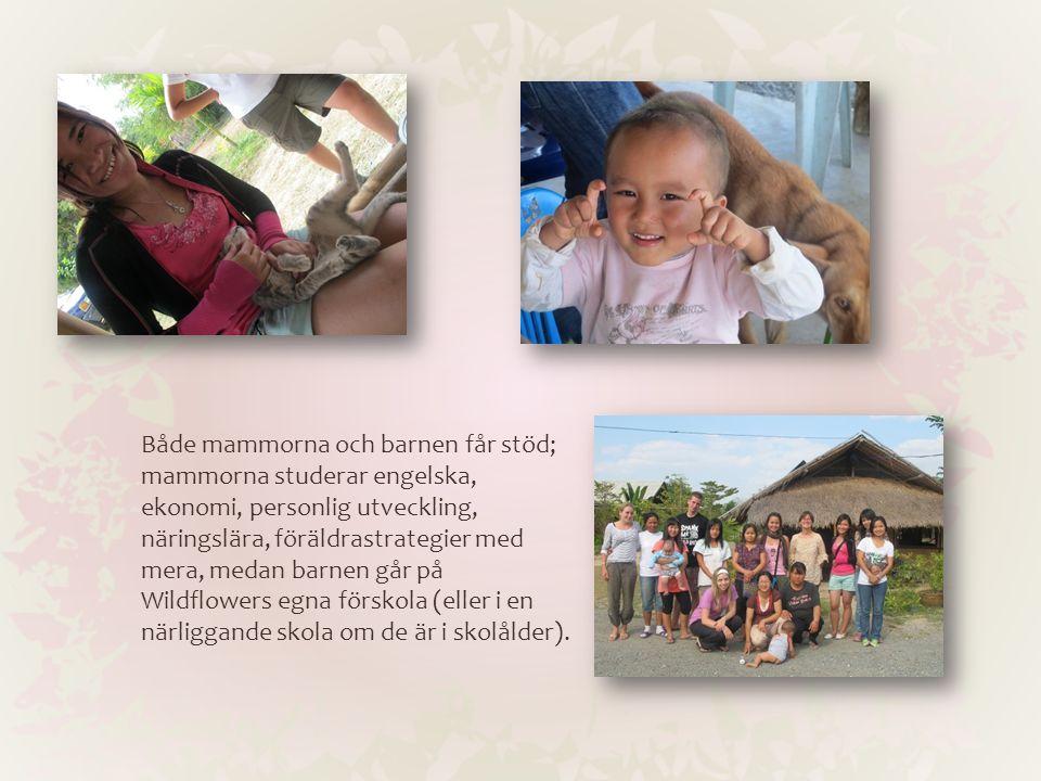 Både mammorna och barnen får stöd; mammorna studerar engelska, ekonomi, personlig utveckling, näringslära, föräldrastrategier med mera, medan barnen g