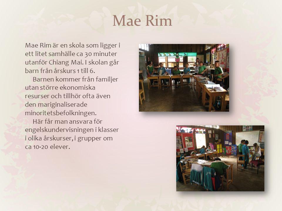 Mae Rim Mae Rim är en skola som ligger i ett litet samhälle ca 30 minuter utanför Chiang Mai. I skolan går barn från årskurs 1 till 6. Barnen kommer f