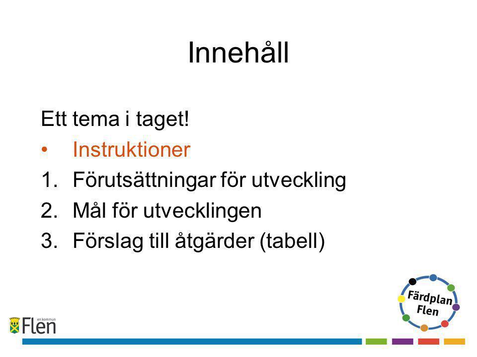 Innehåll Ett tema i taget! •Instruktioner 1.Förutsättningar för utveckling 2.Mål för utvecklingen 3.Förslag till åtgärder (tabell)