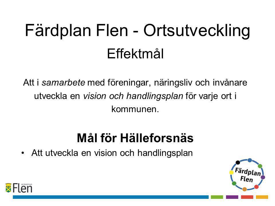 Färdplan Flen - Ortsutveckling Effektmål Att i samarbete med föreningar, näringsliv och invånare utveckla en vision och handlingsplan för varje ort i